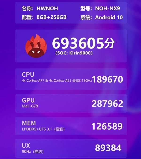 麒麟9000芯片跑分公布,吊打麒麟990和骁龙865